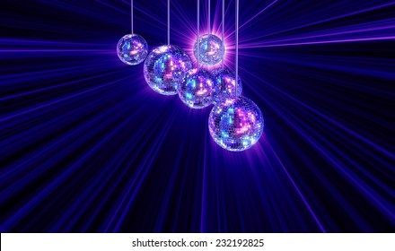 Colorful funky background with mirrored glitter disco balls for party