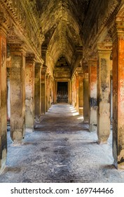 A colorful gallery way at the ancient temple of Angkor Wat in Cambodia