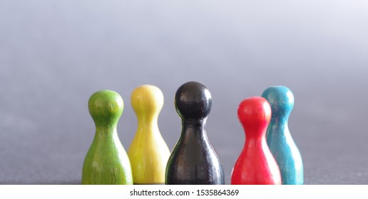 Colorful game figures group people