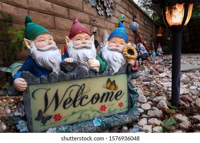 Colorful Garden Gnome Welcome Sign