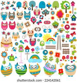 colorful garden, large set of various elements; illustration