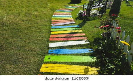 Colorful garden walkway. Concept to make every step of your life colorful.