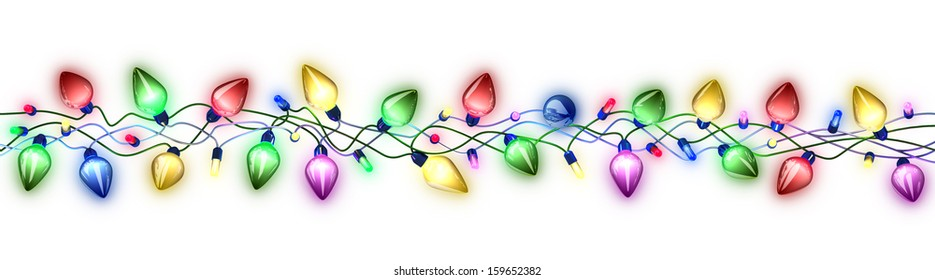 Colorful garlands of lights on white background.