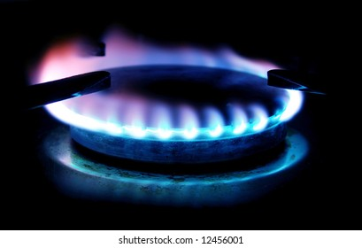 colorful gas stove flame