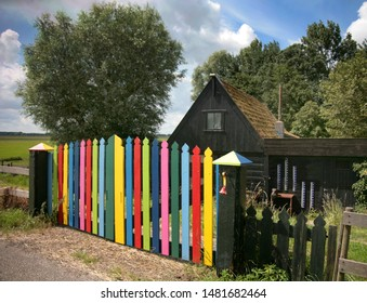 Colorful gate to house outside Edam