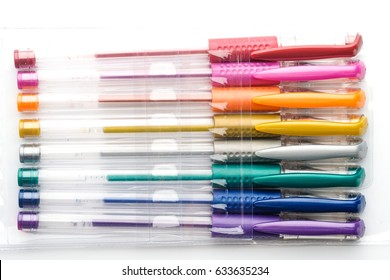 Colorful gel pen on white background
