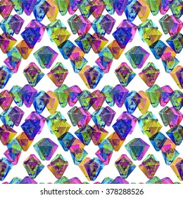 Colorful gem stones illustration with anaglyph 3D effect . Vibrant colored crystal seamless pattern.