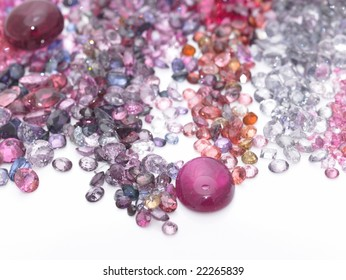 Colorful gems in white  background