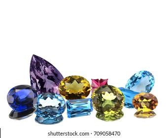 Colorful gemstone isolated on white background