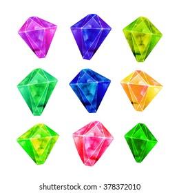 Colorful gemstone set. Hand drawn beautiful vivid crystals.