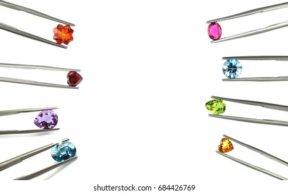 Colorful gemstone,isolated on white background