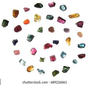 Colorful gemstone,isolated on white background