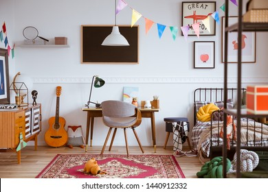 Colorful genderless bedroom with single bed and retro furniture