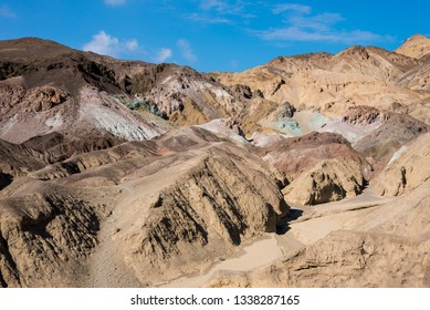 Colorful geological layers in the Death Valley national park, USA