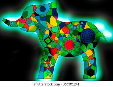 Colorful Geometric Shapes Elephant