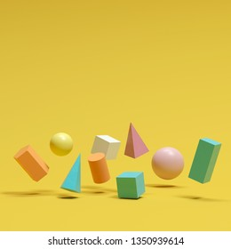colorful geometric shapes set floating on yellow background. minimal concept idea