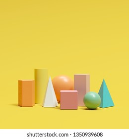 colorful geometric shapes set on yellow background. minimal concept idea