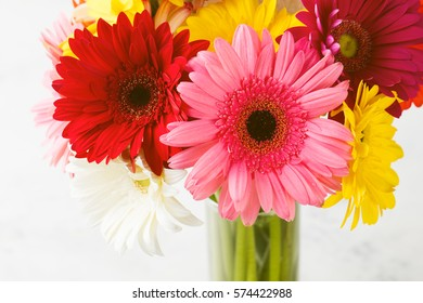 Colorful gerbera flowers on white wooden background.