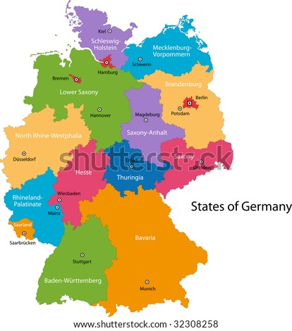 Colorful Germany Map Regions Main Cities Stock Photo (Edit Now ...