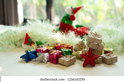 Colorful gift boxes, Christmas Cap and  Little Decoration  for Christmas and new year party.