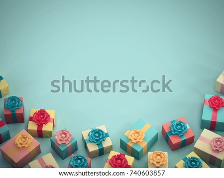 Colorful Gift Boxes On Blue Color Stock Photo Edit Now 740603857