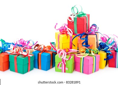 Colorful gifts box isolated on white background