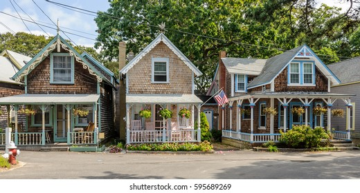 colorful gingerbread cottages on Marthas Vineyard, New England, Maine, USA