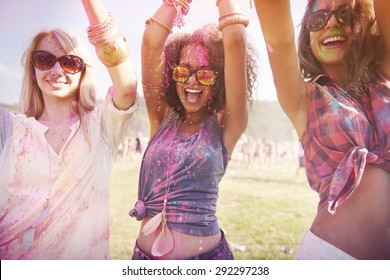 Colorful girls during the festival