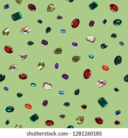 Colorful glamour shiny stones sparkling jewelry glitters gems background
