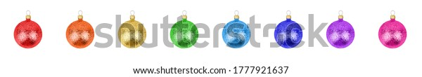 Colorful glass balls set white background isolated close up, Сhristmas tree decoration collection, shiny round baubles, traditional new year holiday decor design element, decorative xmas hanging toys
