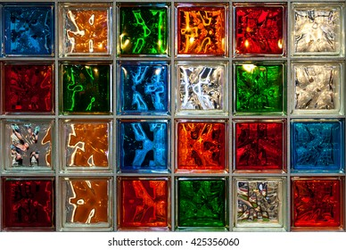 Colorful glass blocks panel for background pattern.