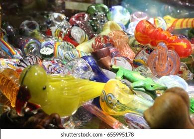 colorful glass bongs