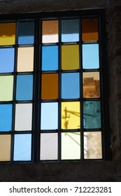 colorful glass window in venice