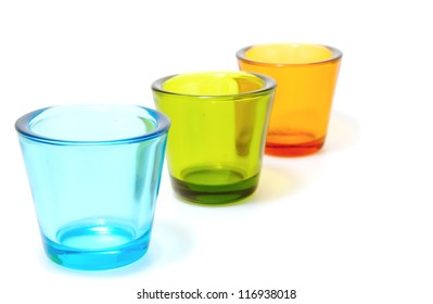 colorful  glasses on white background