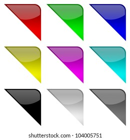 Colorful and glossy empty frame tag corners set on white background illustration