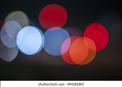 colorful glowing bokeh light with black background