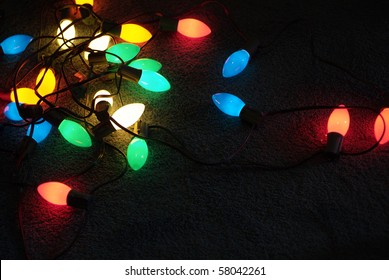 Colorful Glowing Christmas light bulbs