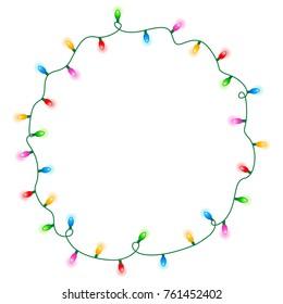 Colorful glowing christmas lights border / frame. Colorful holiday lights illustration