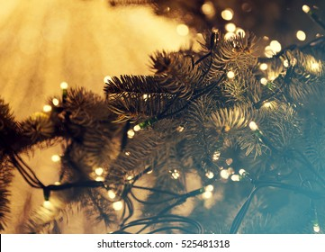 Colorful glowing Christmas lights. Holiday background