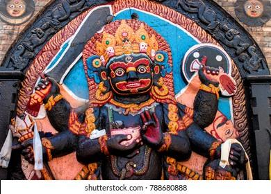 Colorful God Hindu Statue in Kathmandu dubar square