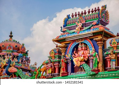 Colorful gopura in the Hindu Kapaleeshwarar Temple,chennai, Tamil Nadu, South India