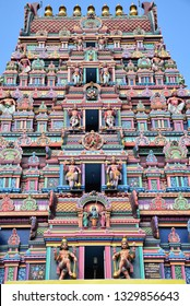 Colorful gopuram of an hindi temple in South India