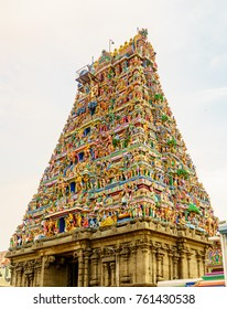 The colorful Gopuram a tall entrance tower of the Hindu temple in Tamil Nadu India