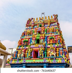 The colorful Gopuram, a tall entrance tower, the Arulmigu Kapaleesarar Temple, which is a Hindu temple, in Mylapore, Chenai, India