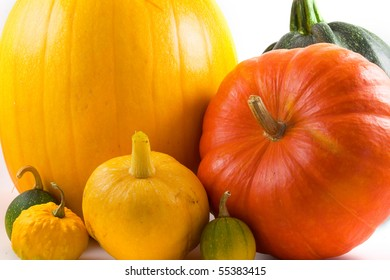 Colorful gourds isolated on a white background