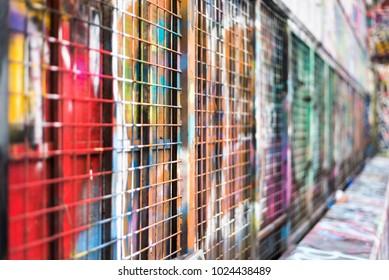 Colorful graffiti wall in Melbourne