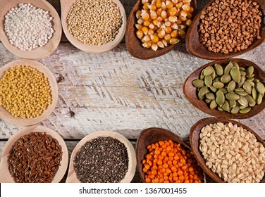 Colorful grains and seeds for the gluten free diet - copy space, top view