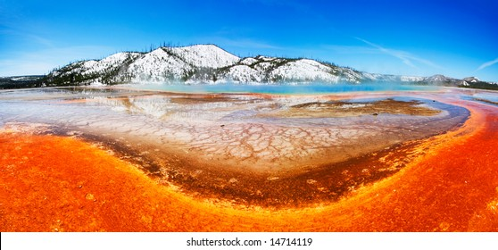 The colorful Grand Prismatic Spring (of Midway Geyser Basin) - Yellowstone National Park.