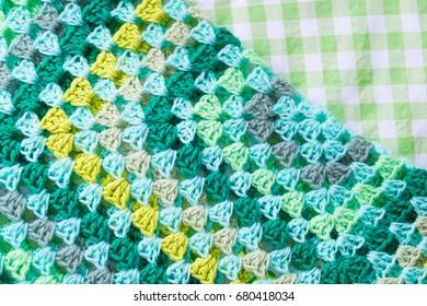 Colorful granny squares in crochet