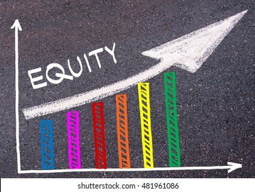 Colorful graph drawn over tarmac and word EQUITY with directional arrow, business design concept